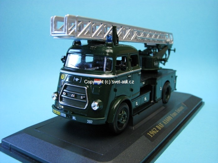 Daf A1600 Fire Engine 1962 Ladder NL Army Khaki 1:43 Yat Ming